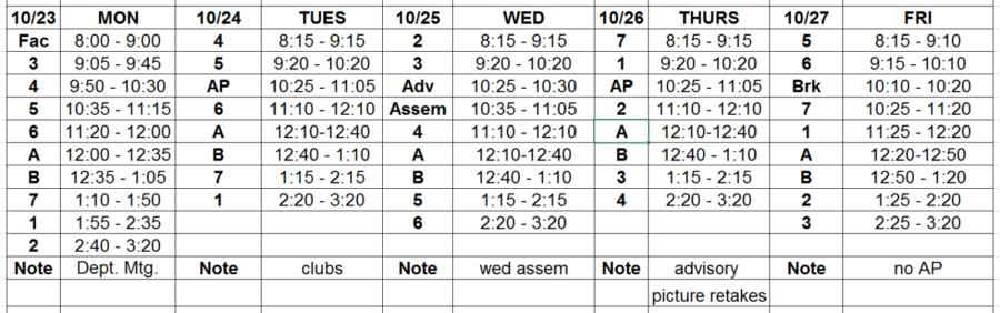 Block Schedule and Lunch Menu: 10/23 – 10/27