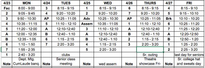 Block Schedule, Lunch Menu, Bulletin: 4/23 – 4/27