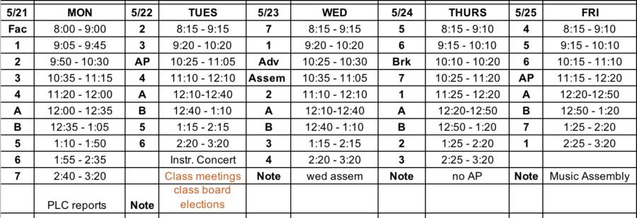 Block Schedule, Lunch Menu, Bulletin: 5/21 – 5/25