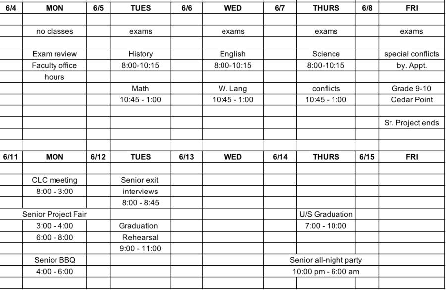 Block Schedule, Lunch Menu, Bulletin: 6/4 – 6/15